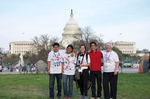 (From the left) Melvin Orozco, Mariana Blanco, Silvia Giagnoni, Jose' Cuicahua-Perez and Helen Rivas pose for a photo in front of the Capitol in Washington D.C. on April 10, 2103.